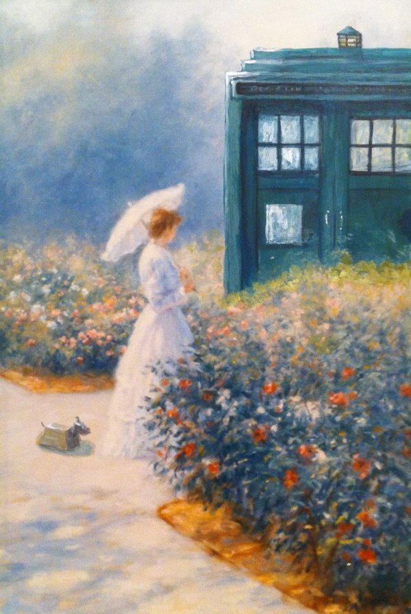 A woman in the garden with the Tardis