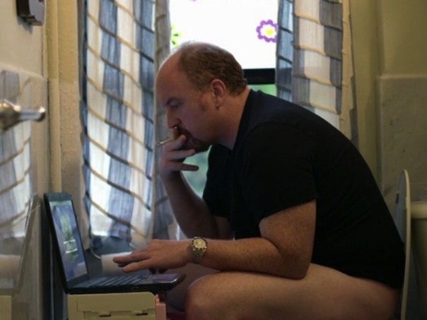 Louis CK editing a movie.