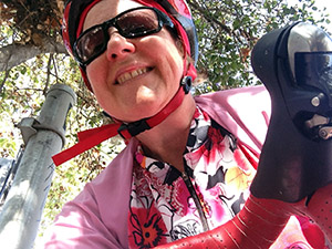 Laurie is all smiles during today's bike ride on the LA River bike path