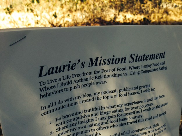Laurie's Misson Statement on paper