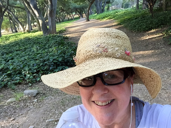 Laurie In Sunhat SMILING big time in the park