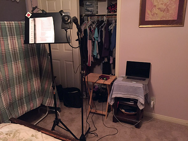 Mic, music stand, computer - sound recording junk in the guest room