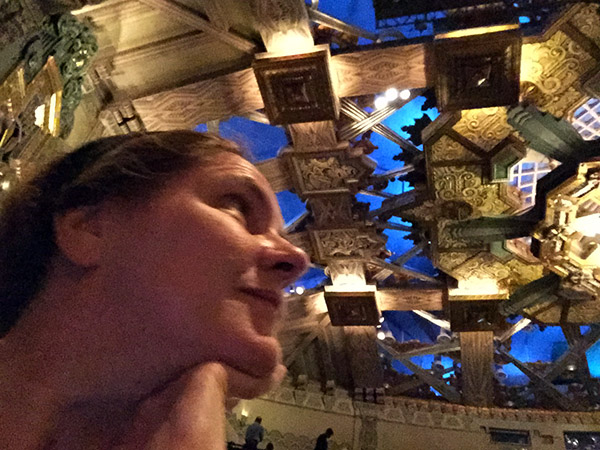 Laurie gazes at the ornate blue and gold ceiling at the Pantages Theater