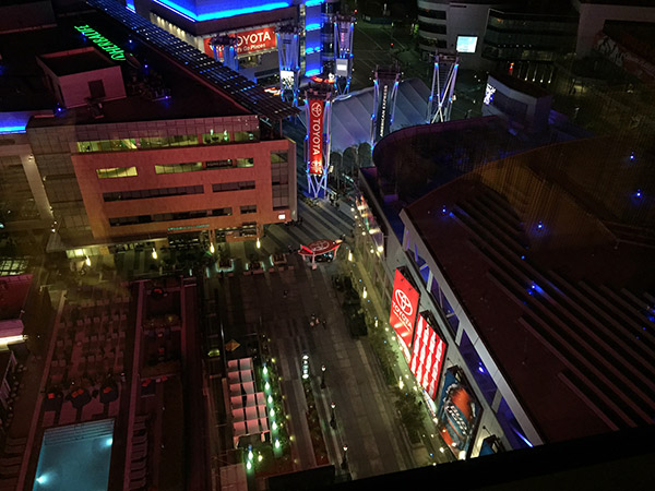 Night time view of the neon lights of LA Live