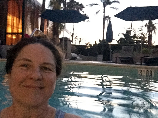 Laurie in the pool in the early morning