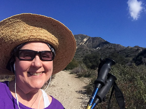 Laurie at the start of the hiking trail