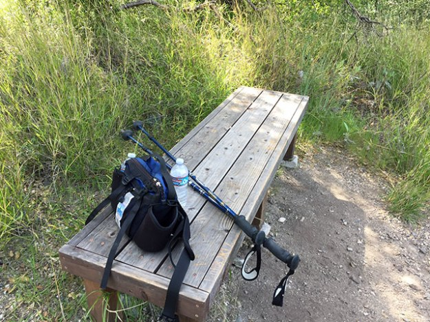 Laurie's hiking poles and pack sitting on the shady bench under a tree
