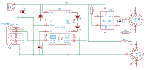 A MIDI to RS232 adapter (electronic circuit)