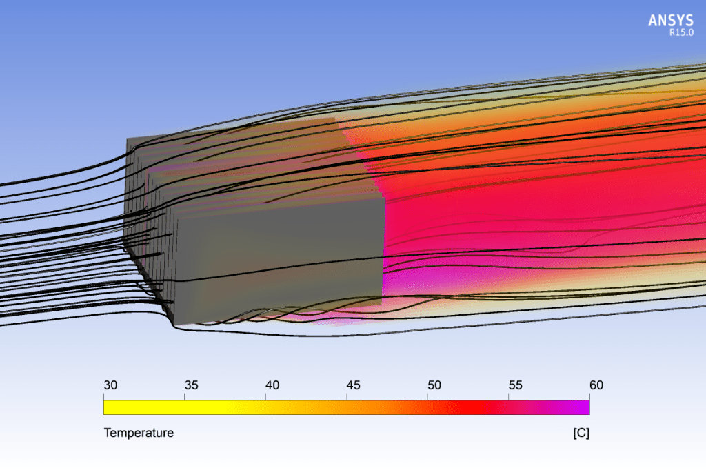 This image shows the heat that is convected away from a finned heat exchanger. As indicated by the streamlines, air is flowing from left to right in the image.