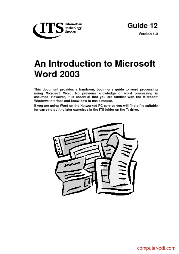 [PDF] An introduction to Word 2003 free tutorial for Beginners