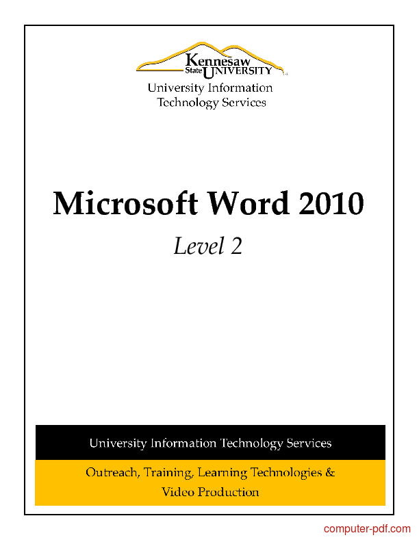 [PDF] Microsoft Word 2010 Level 2 free tutorial for Beginners