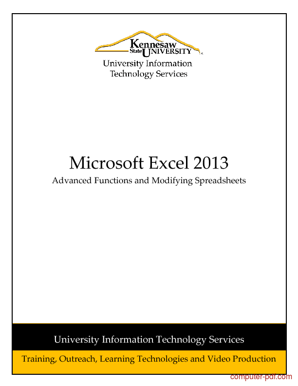 PDF] Excel 2013 Functions and Modifying Spreadsheets free tutorial ...
