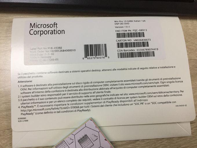 Customized Windows10 Pro Coa License Online Activation FQC-08913 OEM DVD Pack 1607/1709/1803 Version