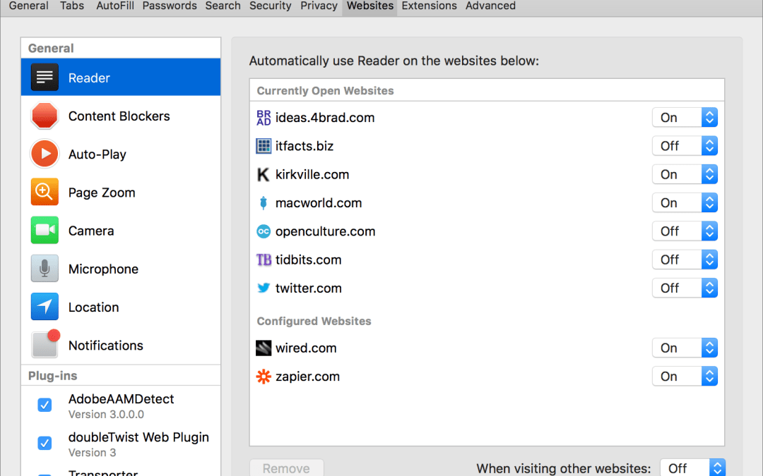 Learn How You Can Adjust Web Site Behavior with Safari's Site-Specific Settings