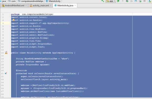 mainactivity-java for web convert to application