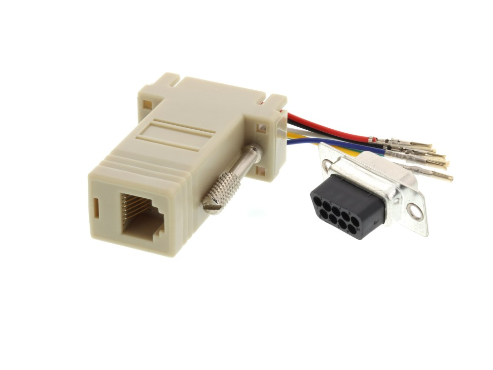 medium resolution of  picture of modular adapter kit db9 female to rj11 rj12 beige