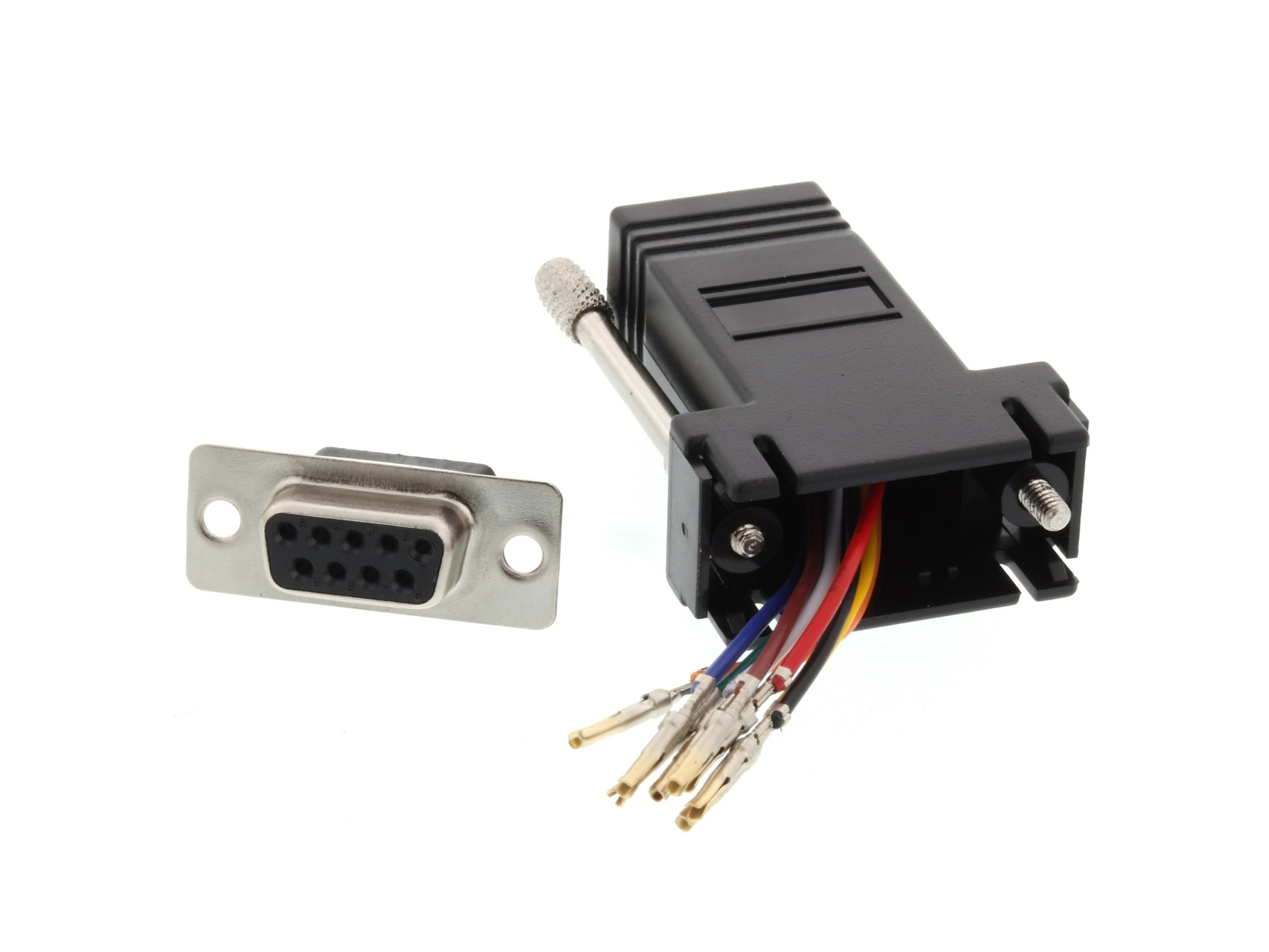 hight resolution of picture of modular adapter kit db9 female to rj45 black