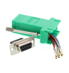 picture of modular adapter kit db9 female to rj45 green [ 3200 x 2400 Pixel ]