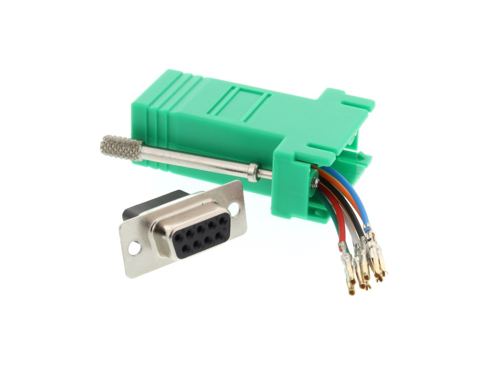 medium resolution of  picture of modular adapter kit db9 female to rj45 green