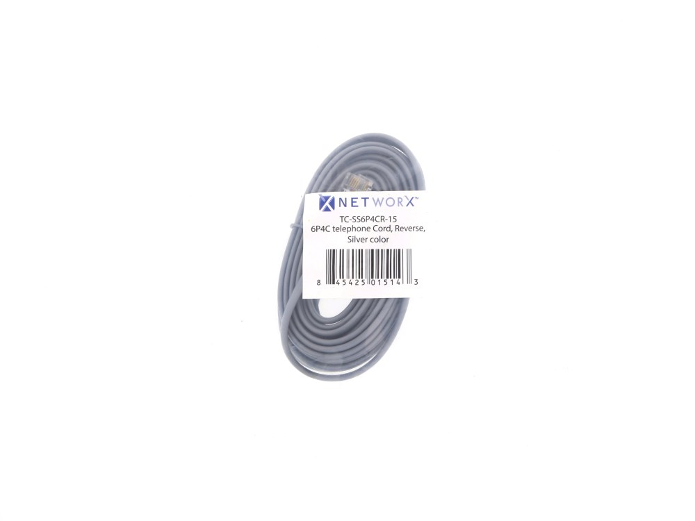 medium resolution of  picture of rj11 4 conductor cross wired modular telephone cable 15 ft