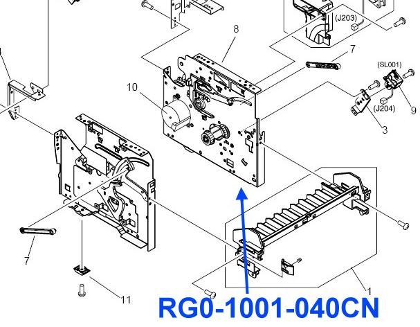 RG0-1001-040CN LaserJet 1000 / 1200 / 3300 Series Right