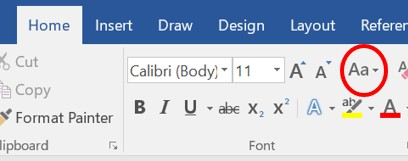Change Case icon in Microsoft Word