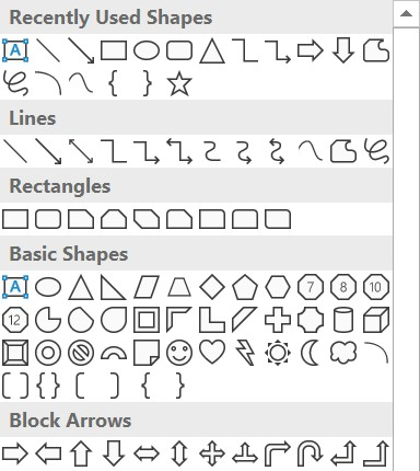 Microsoft Word - Selection of shapes to add