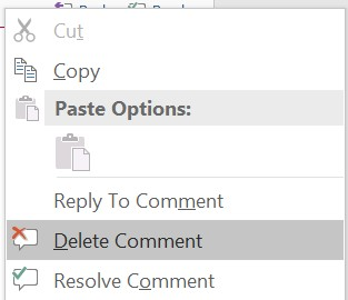 Delete Comment in Microsoft Word