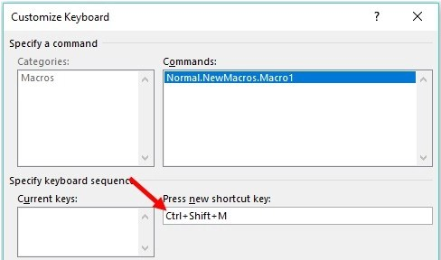 Assign key combination to execute recorded macro in Word