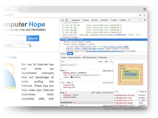 Affichage d'une page Web avec les outils de développement