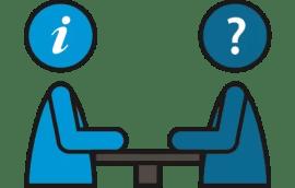 2 poppetjes waarvan de ene een vraag heeft en de ander informatie geeft