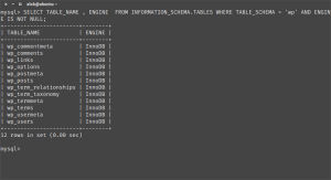 screenshot of mysql table schema information