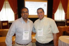 Rajesh Thomas, left, from ProCare Rx with MedQuest Pharmacy's Milton Maldonado.