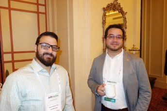 Luis Marquez, left, from Leon Medical Centers, with speaker Timothy Aungst from the Massachusetts College of Pharmacy and Health Sciences, whose topic was opportunities for pharmacy coming from consumer wearable health technologies.