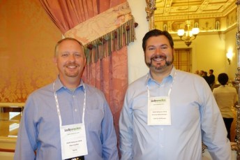 IQVIA's Dan Colfer, left, and Liberty Software's Jeremy Manchester.