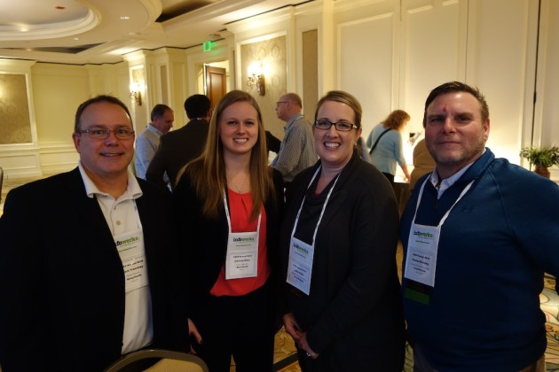 From left, RelayHealth's Brent Tremblay and Hannah Miles with CoverMyMeds' Leslie Gibbs and Charles Brinkley.