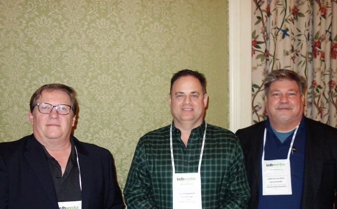 From left, J2 Global's Kent Montgomery, PANTHERx Specialty Pharmacy's Carlos Correa, and Elsevier/Gold Standard's Jerry Tanski.
