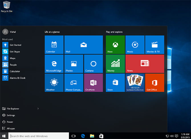 windows 10 start menu