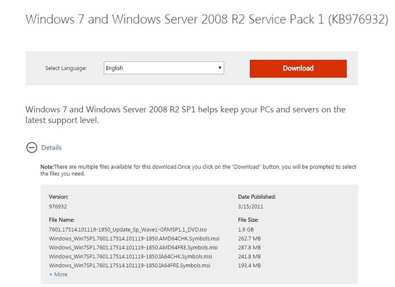Download windows 7 service pack 1