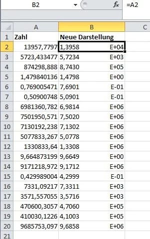 Wissenschaftliche Zahlen in Excel-Listen übersichtlich