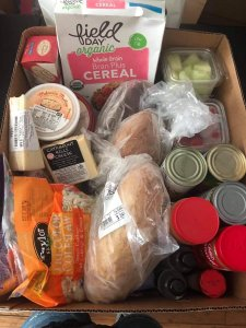 A typical MIMAC grocery delivery box, designed to provide 3 days worth of meals.