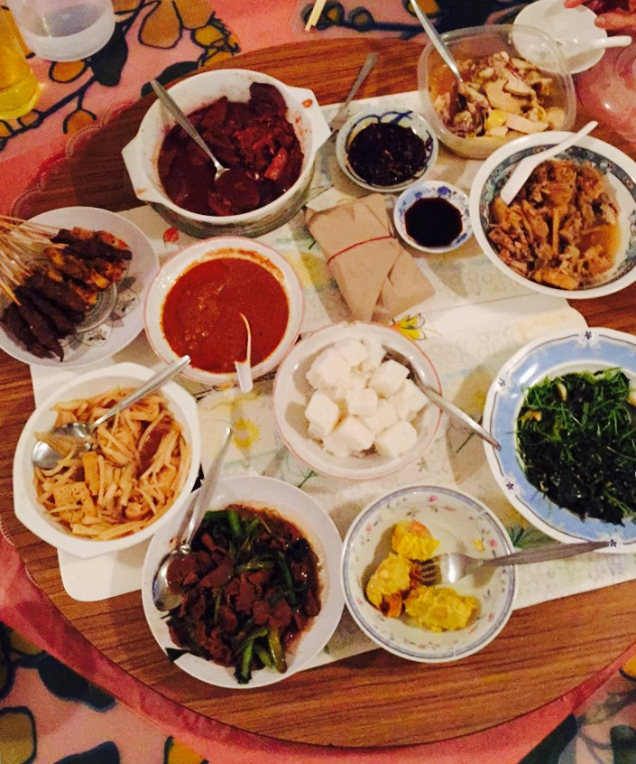 A typical dinner served at home.