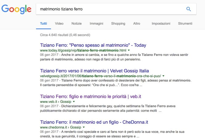 Tecniche di pubbliche relazioni: Tiziano Ferro fa parlare i giornali di lui con la notizia del matrimonio...