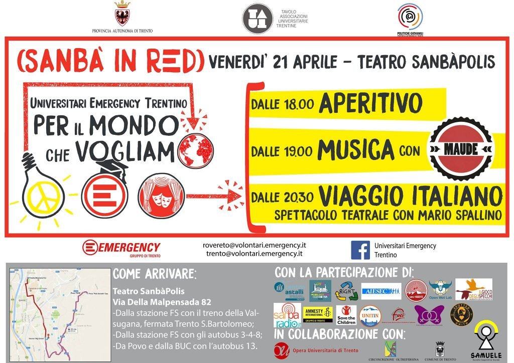 """Emergency Trento: al via """"Il mondo che vogliamo"""", cartellone di eventi degli universitari di Emergency del Trentino"""