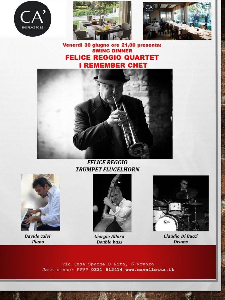 Jazz, arriva a Novara Felice Reggio, per un'esclusiva serata in onore di Chet Baker