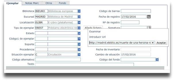 Añadir una URL para asociar al ejemplar virtual el contenido alojado en una plataforma externa