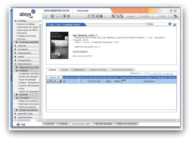Catalogación del recurso electrónico con un ejemplar virtual asociado