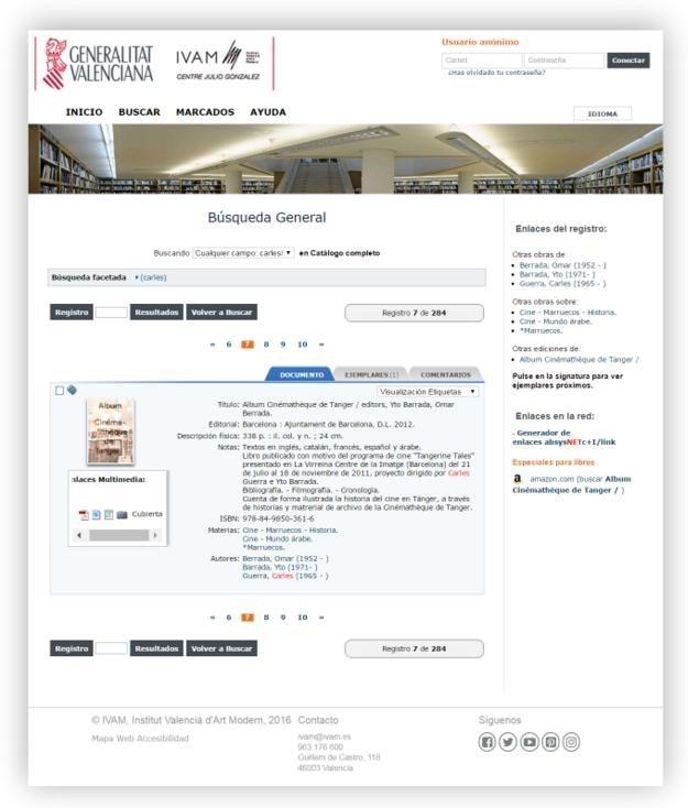 El módulo de biblioteca digital del Instituto Valenciano de Arte Moderno