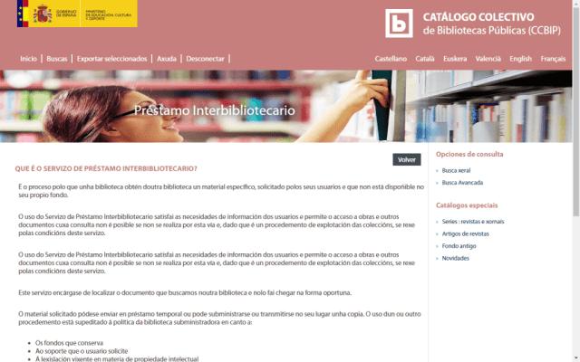 Página de préstamo interbibliotecario del Catálogo Colectivo de las Bibliotecas Públicas