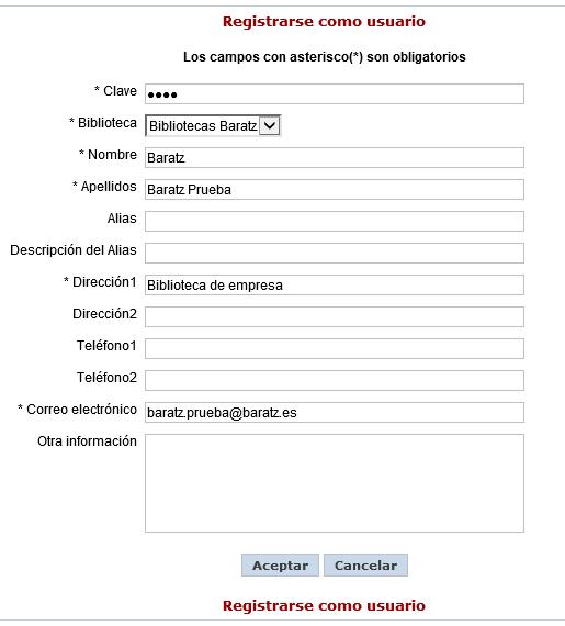 Registrarse como usuario opac AbsysNet
